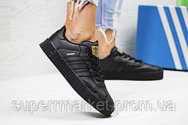 Кроссовки в стиле Adidas Samba черные кожа, код6167, фото 3