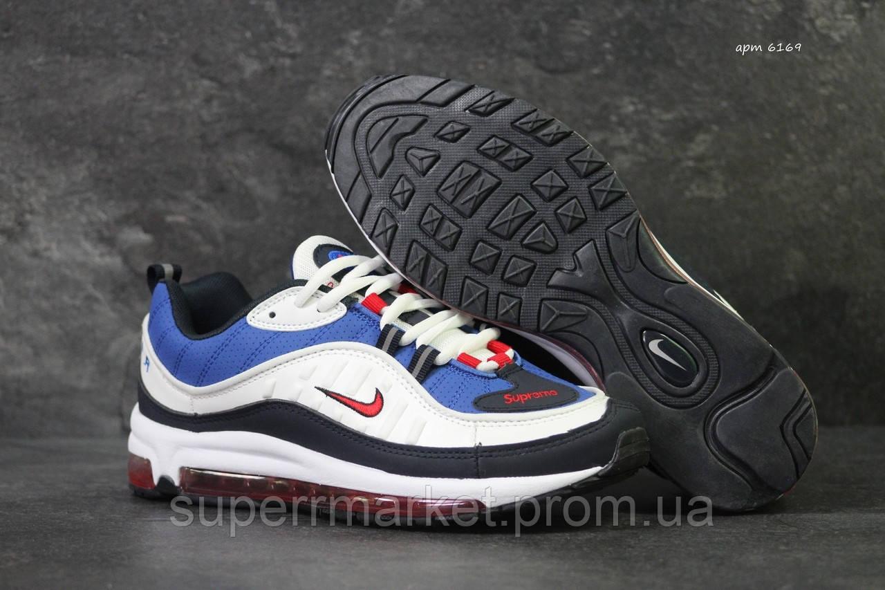 Кроссовки в стиле Nike 6169 белые с синим
