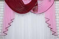 Ламбрекен №122 на карниз 1,5м. Цвет бордовый с розовым. У