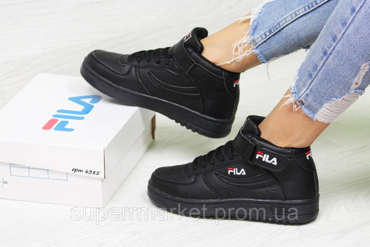 Кроссовки в стиле Fila черные, код6385