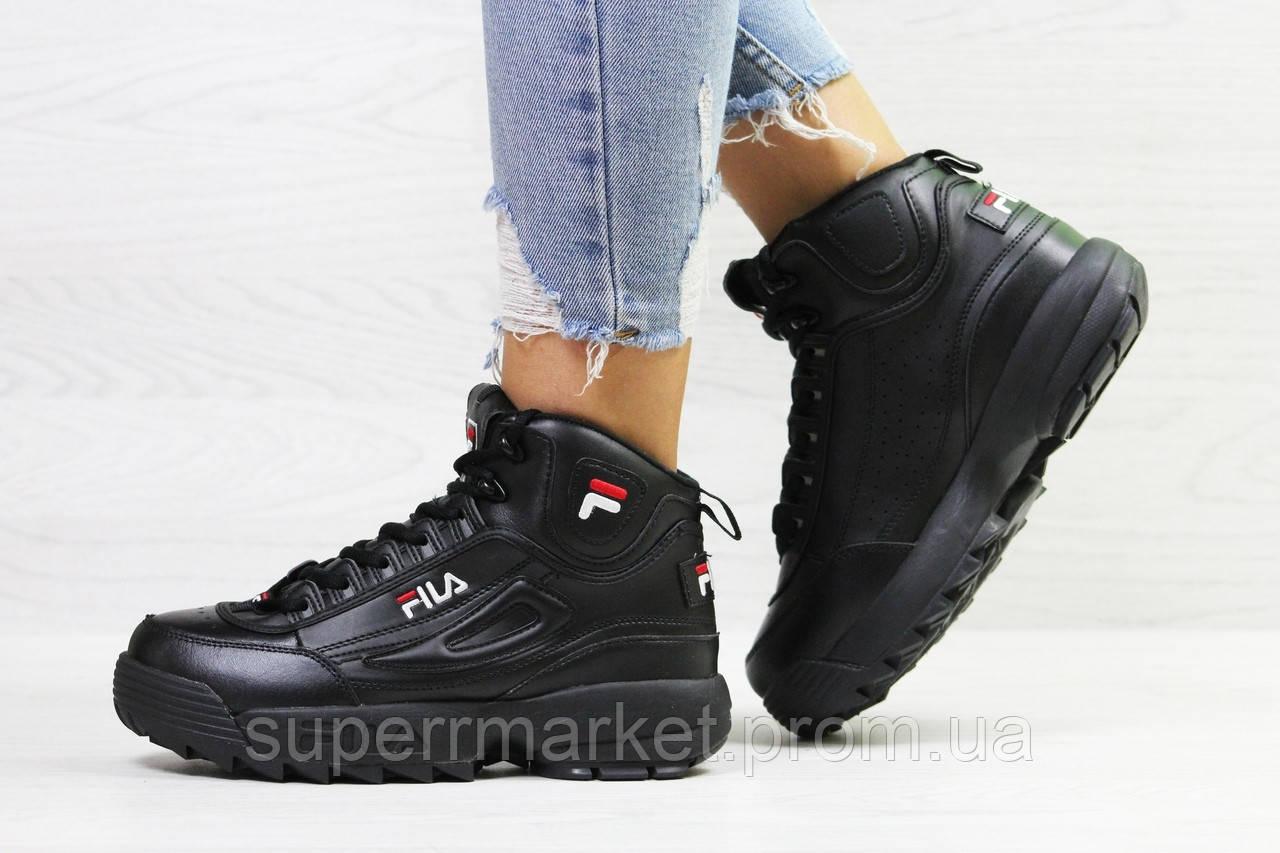 Кроссовки в стиле Fila черные, код6390