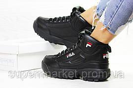 Кроссовки в стиле Fila черные, код6390, фото 3