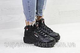 Кроссовки в стиле Fila черные, код6390, фото 2