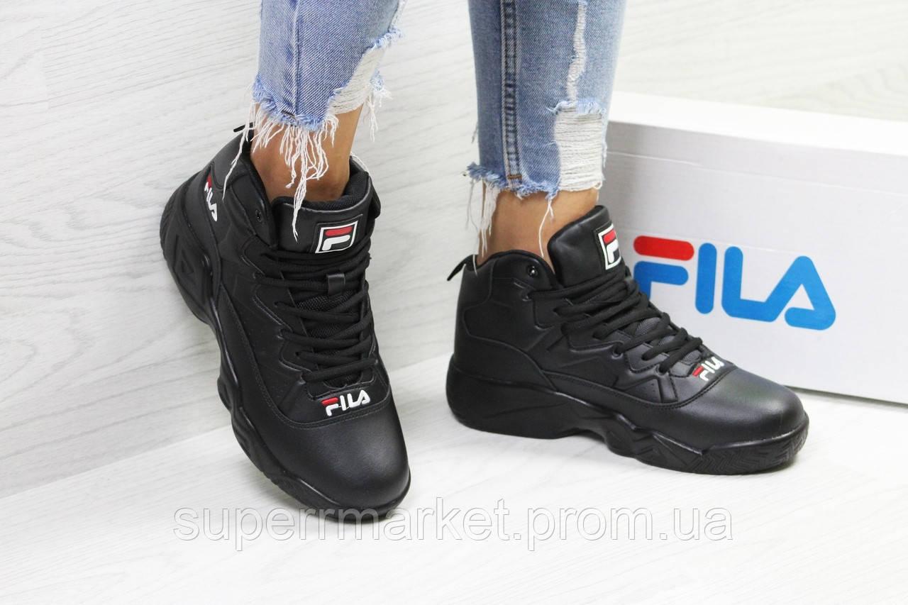 Кроссовки в стиле  Fila черные, код6393