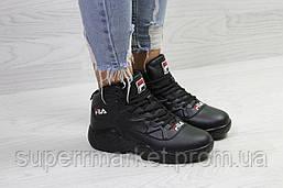Кроссовки в стиле  Fila черные, код6393, фото 3