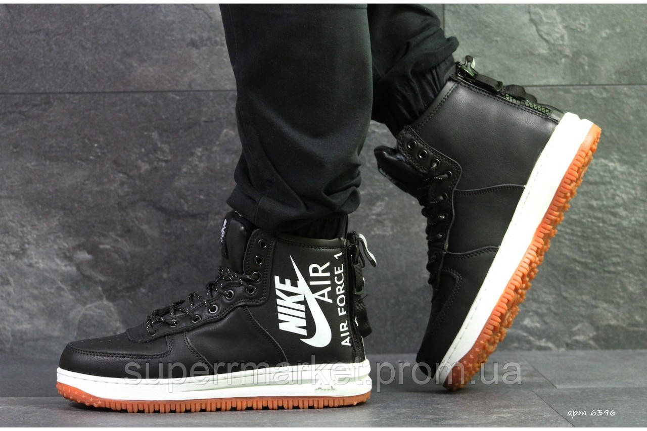 Кроссовки Nike Air Force черные. Код 6396
