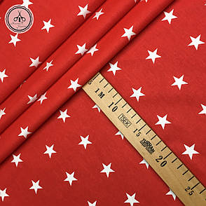 """Польская хлопковая ткань """"звезды белые на красном классические"""", фото 2"""