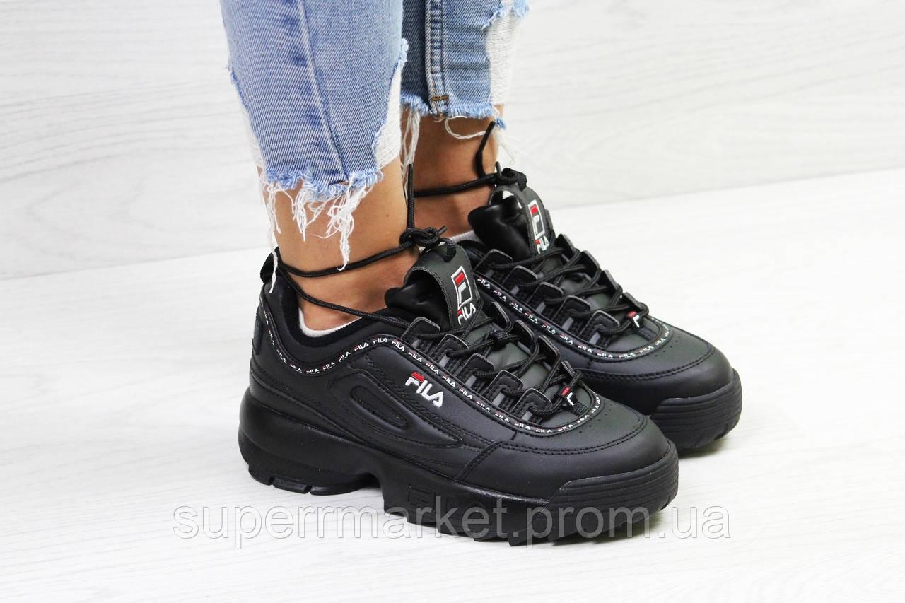 Кроссовки в стиле Fila черные, код6324