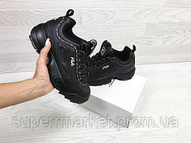 Кроссовки в стиле Fila черные, код6324, фото 2