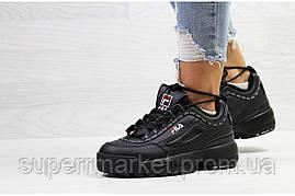 Кроссовки в стиле Fila черные, код6324, фото 3