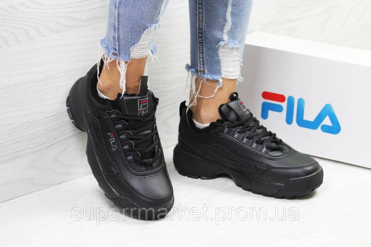 Кроссовки в стиле Fila черные, код6335