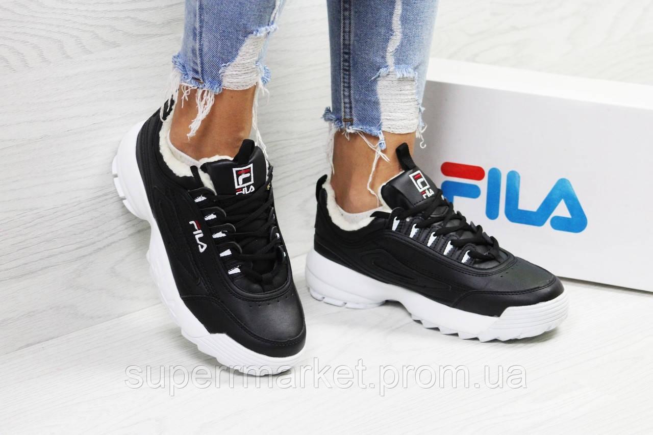 Кроссовки в стиле  Fila черные с белым, код6339