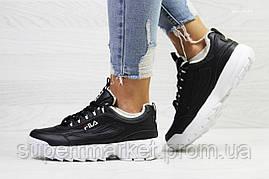 Кроссовки в стиле  Fila черные с белым, код6339, фото 3