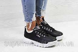Кроссовки в стиле  Fila черные с белым, код6339, фото 2