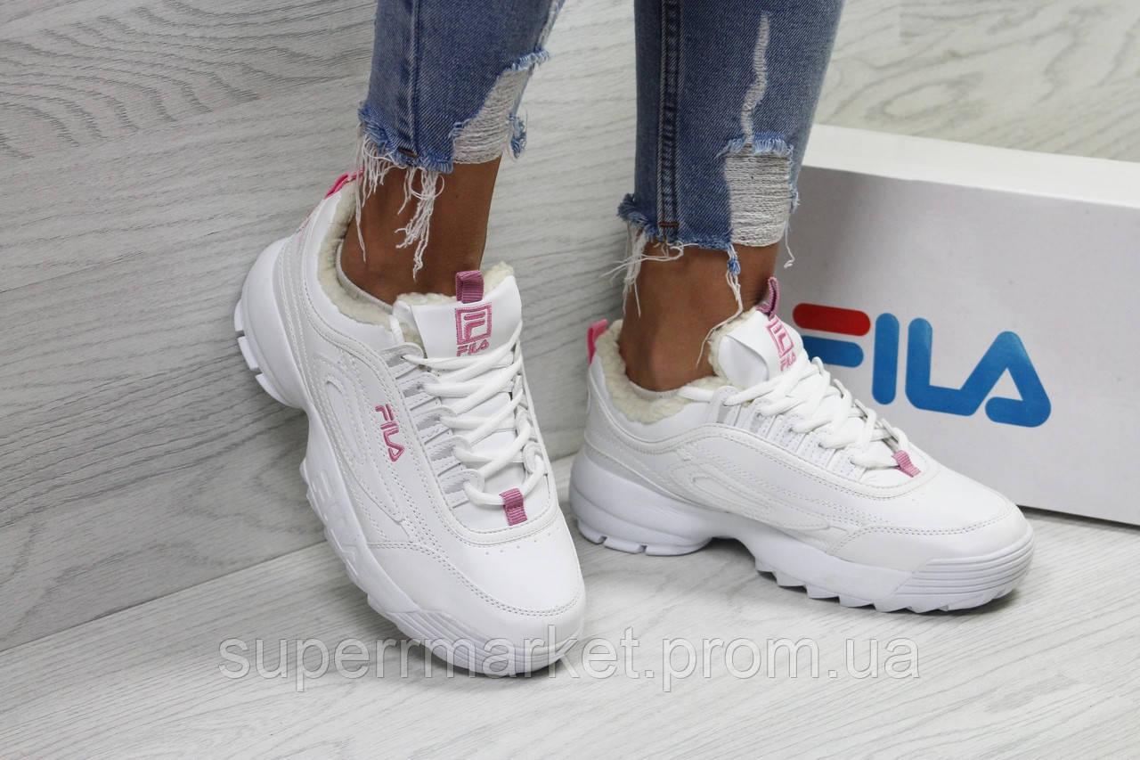 Кроссовки в стиле  Fila белые с розовым, код6340