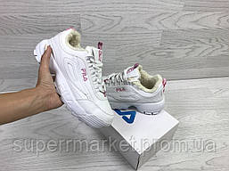 Кроссовки в стиле  Fila белые с розовым, код6340, фото 3