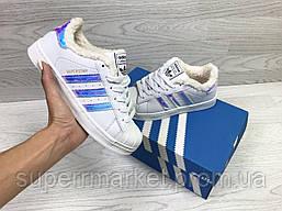 Кроссовки в стиле Adidas белые с перламутром, код6356, фото 3
