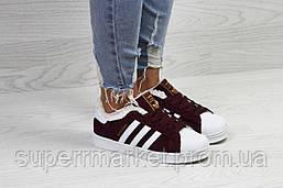 Кроссовки в стиле Adidas бордовые, код6364, фото 2