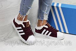 Кроссовки в стиле Adidas бордовые, код6364, фото 3
