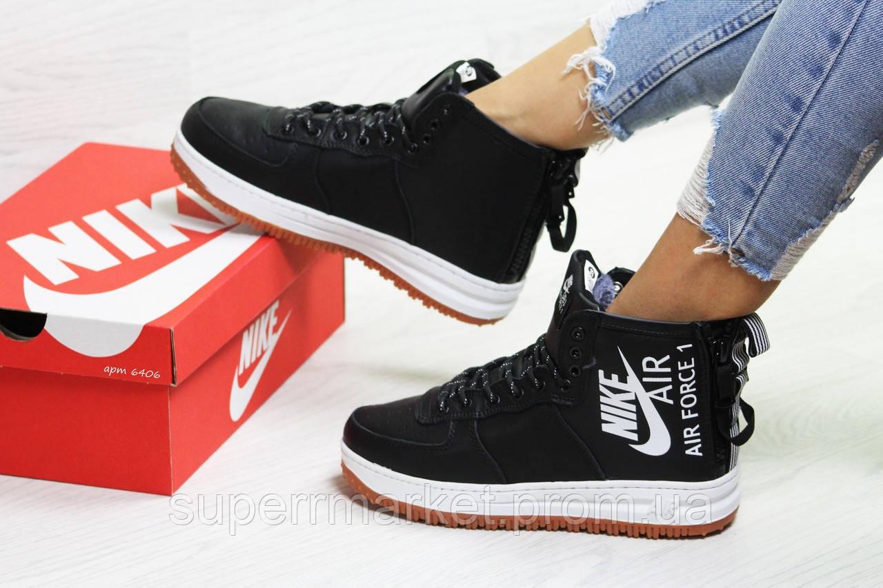 Кроссовки в стиле Nike Air Force черные с белым (зима). Код 6406