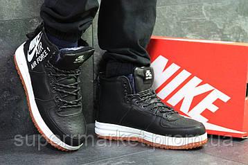 Кроссовки в стиле Nike Air Force черные с белым (зима). Код 6406, фото 2