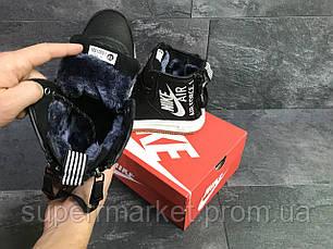 Кроссовки в стиле Nike Air Force черные с белым (зима). Код 6406, фото 3