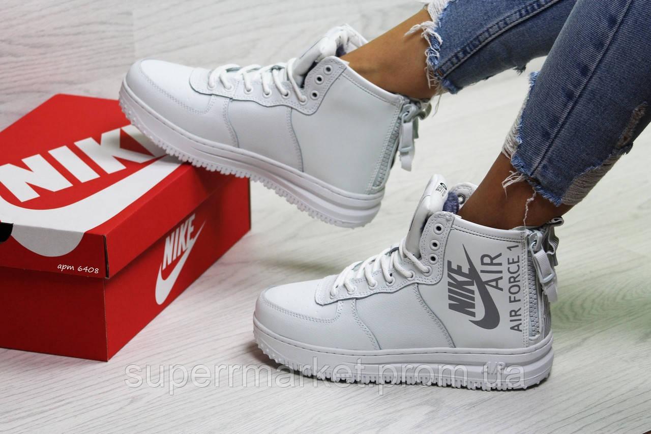 Кроссовки в стиле Nike Air Force белые (зима). Код 6408
