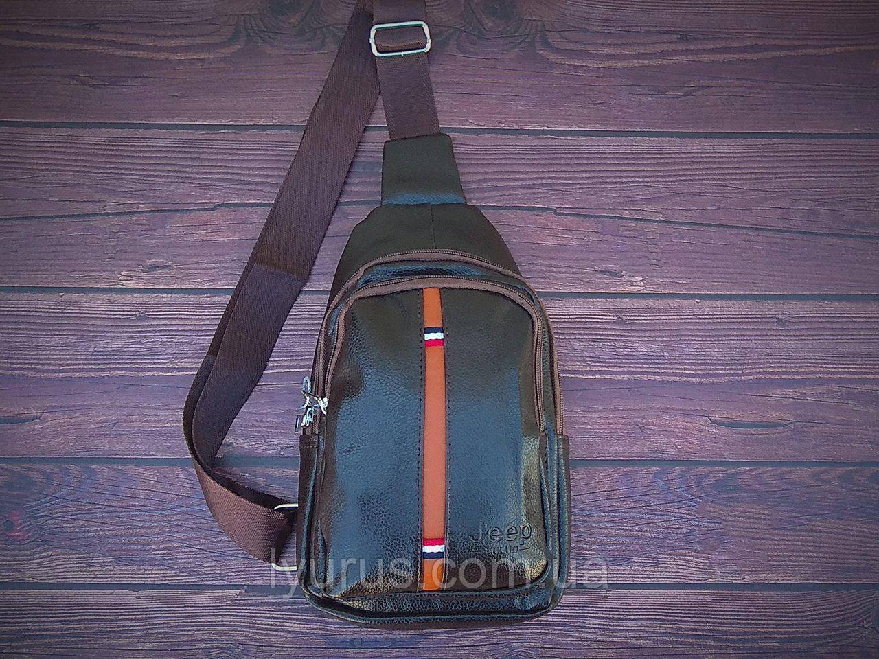 Сумка-рюкзак на одно плечо, кобура, слинг Jeep. Коричневая