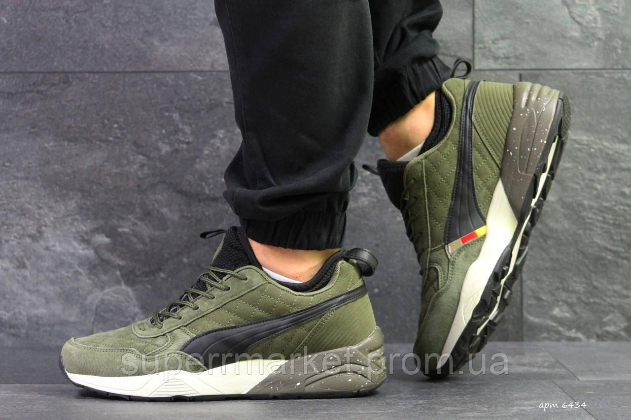Кроссовки Puma темно-зеленые (зима). Код 6434