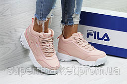 Кроссовки Fila розовые (зима). Код 6439, фото 3