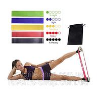 Резинки для фитнеса набор 5шт. + чехол, фитнес-резинки, резиновые петли, эспандер-кольцо, эспандер