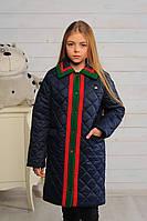 Пальто детское для девочки Лори джинс весна\осень 128,146см плащевка отделка кашемир