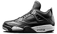 Баскетбольные женские кроссовки Nike Air Jordan Retro 4 Oreo Black (найк аир джордан 4, черные)