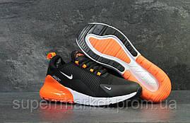 Кроссовки Air Max 270 черные с оранжевым  зима , код6453, фото 3