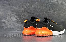 Кроссовки Air Max 270 черные с оранжевым  зима , код6453, фото 2