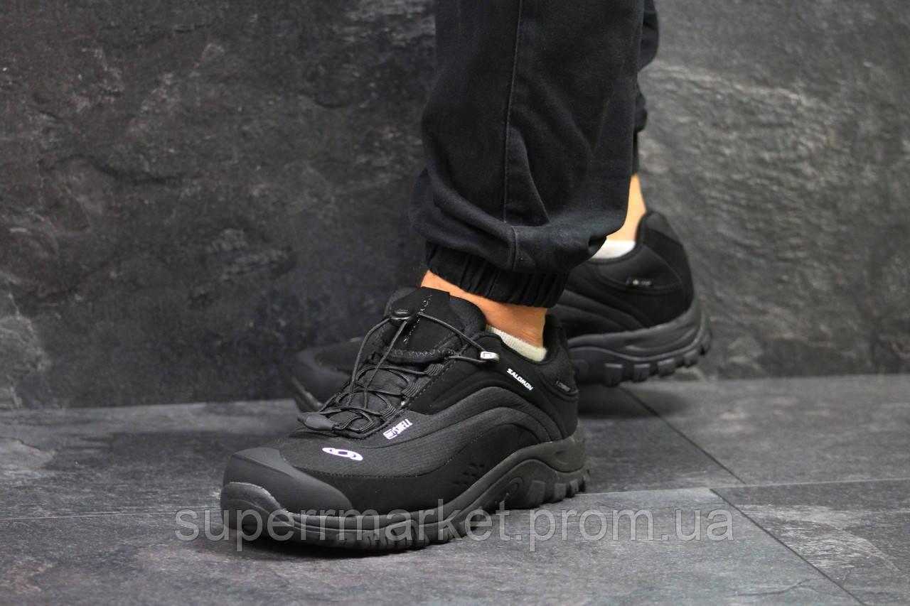 Кроссовки Salomon, черные с белым, термо, код6468
