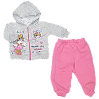 Детский трикотажный костюмчик с начесом: кофта на молнии с капюшоном, штанишки, Турция, р. 62, 68, 74