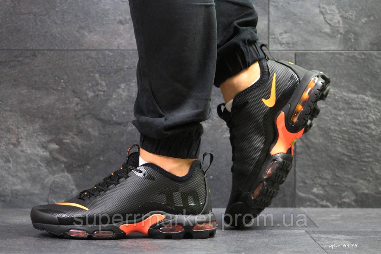 Кроссовки Air Max Tn черные с оранжевым  зима , код6475
