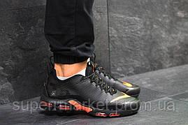 Кроссовки Air Max Tn черные с оранжевым  зима , код6475, фото 3