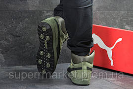 Кроссовки Puma Suede зеленые  зима , код6479, фото 3