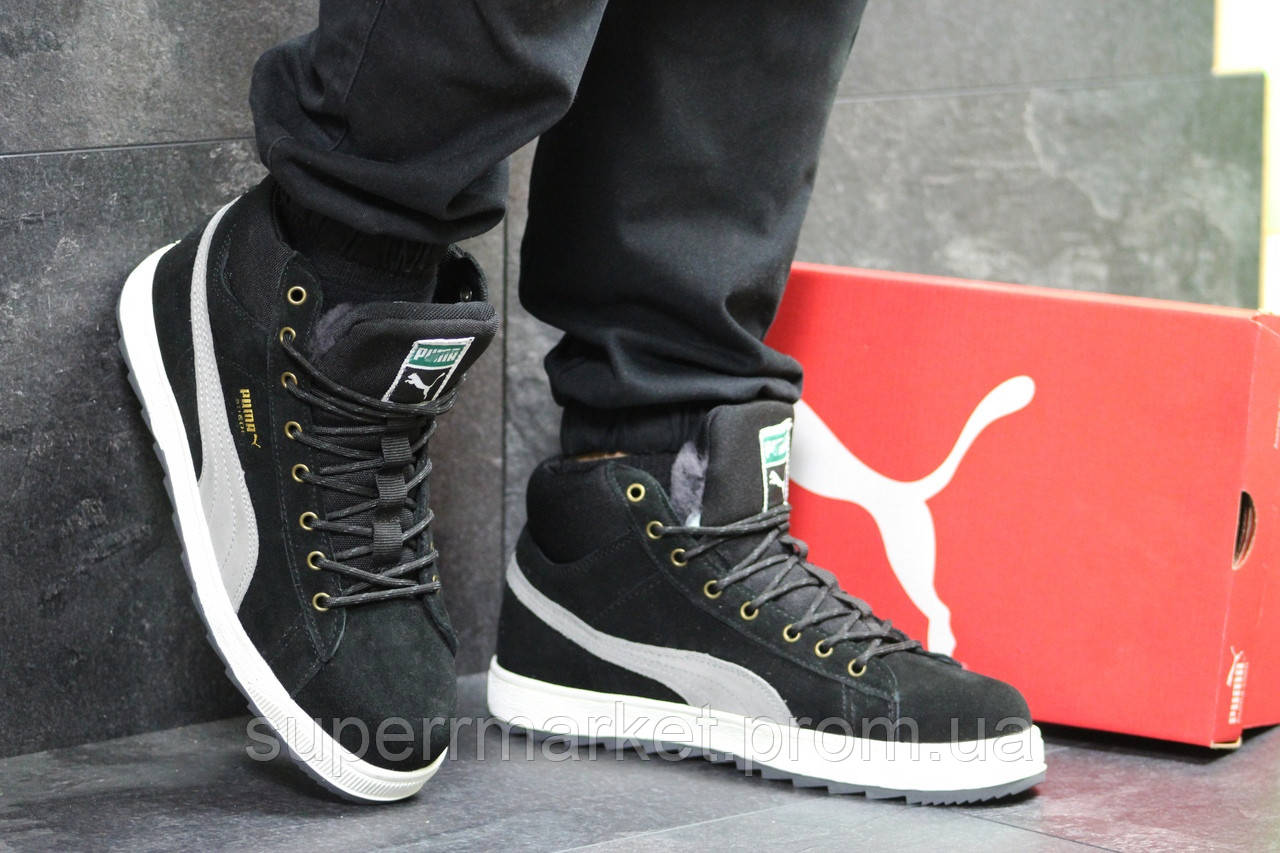 Кроссовки Puma Suede черные с серым  зима , код6482