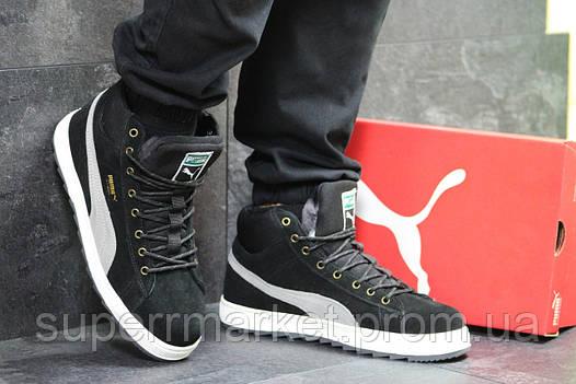 Кроссовки Puma Suede черные с серым  зима , код6482, фото 2