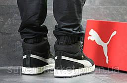 Кроссовки Puma Suede черные с серым  зима , код6482, фото 3