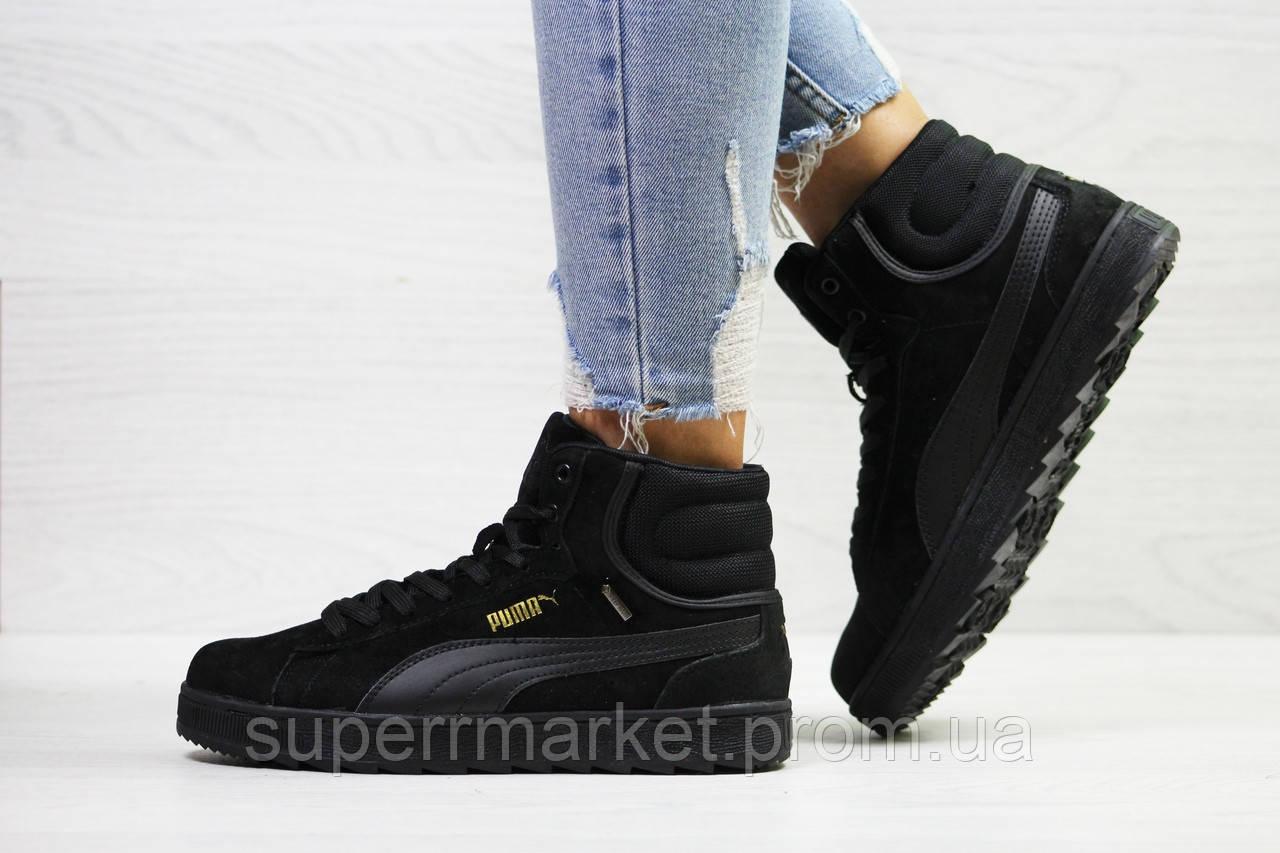 Кроссовки Puma Suede черные (зима). Код 6485
