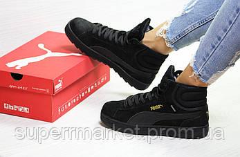 Кроссовки Puma Suede черные (зима). Код 6485, фото 2
