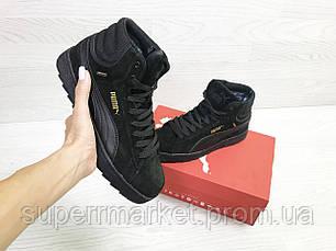 Кроссовки Puma Suede черные (зима). Код 6485, фото 3