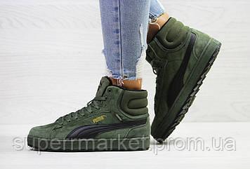 Кроссовки Puma Suede зеленые (зима). Код 6486, фото 2