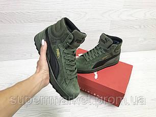 Кроссовки Puma Suede зеленые (зима). Код 6486, фото 3