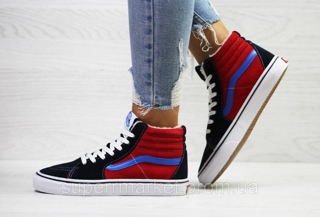 Ботинки Vans темно-синие с красным (зима). Код 6499