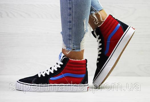 Ботинки Vans темно-синие с красным (зима). Код 6499, фото 2